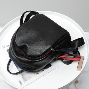 Image 4 - 2019 Blue Red Chain Design Real Leather Women Bagpack Youth Girl Korean Fashion Soft Leather Cowhide Small Backpack Rugzak