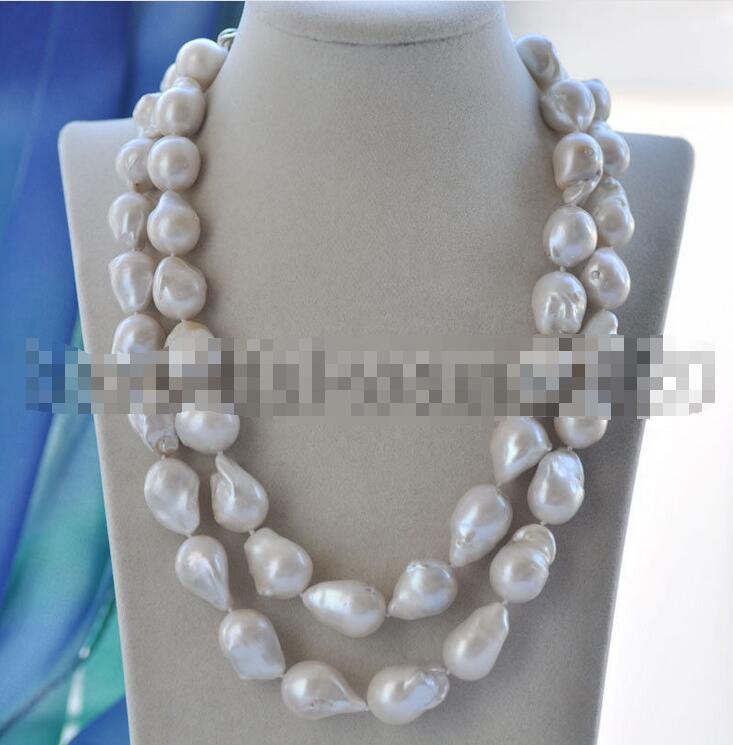2row 17-20mm White Baroque Keshi Reborn PEARL Necklace CZ 19inch z3519 17 30mm white baroque keshi reborn pearl necklace