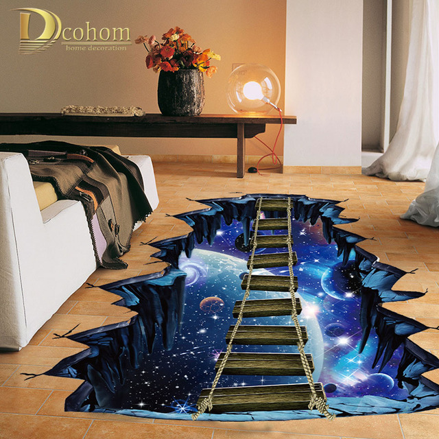 Decorating With Stripes For A Stylish Room: Abstract Cosmic Space 3D Floor Sticker Home Decor Kids