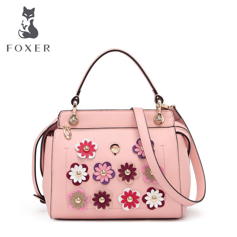 FOXER New Cowhide Leather Tote Fashion applique Genuine Leather bag Convertible Handle Bag shoulder font b