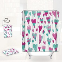 Polyester Waterproof Mildewproof colour heart Shower Curtain included bath mat and Wipe cloth match for Bathing Curtain