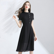 Chiffon Dress Summer 2019 Womens New Hit Color Patchwork Stand Collar Short Sleeves Slim A-Line Pleated Black Knee Length