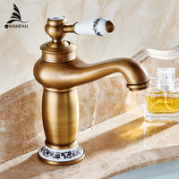 Free Shipping Contemporary Concise Bathroom Faucet Antique Bronze Finish Brass Basin Sink Faucet Single Handle Water
