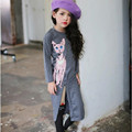 Girls Dress Cat Printed Spring Full Sleeve Kids Girl Casual Party Dress Children Clothes Slits Grey/Purple Fashion Dress Girls