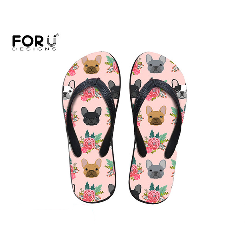 FORUDESIGNS Fashion 2018 Women Slippers Summer Cartoon Cute French Bulldog Floral Print for Girl Flip Flops Beach Casual Sandals simple satin and floral print design slippers for women