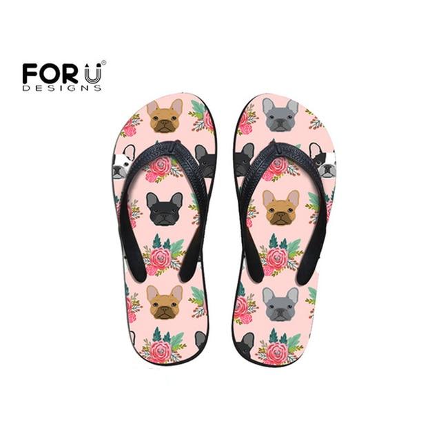217749370ff95 FORUDESIGNS Fashion 2018 Women Slippers Summer Cartoon Cute French Bulldog  Floral Print for Girl Flip Flops