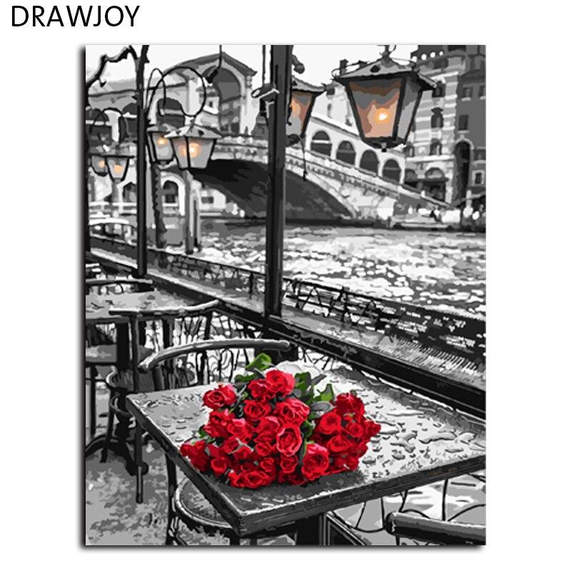 DRAWJOY Rosa Pittura Senza Telaio By Numbers FAI DA TE Digitale Pittura A Olio Su Tela Home Decor For Living Room Wall Art GX9754 40*50 cm