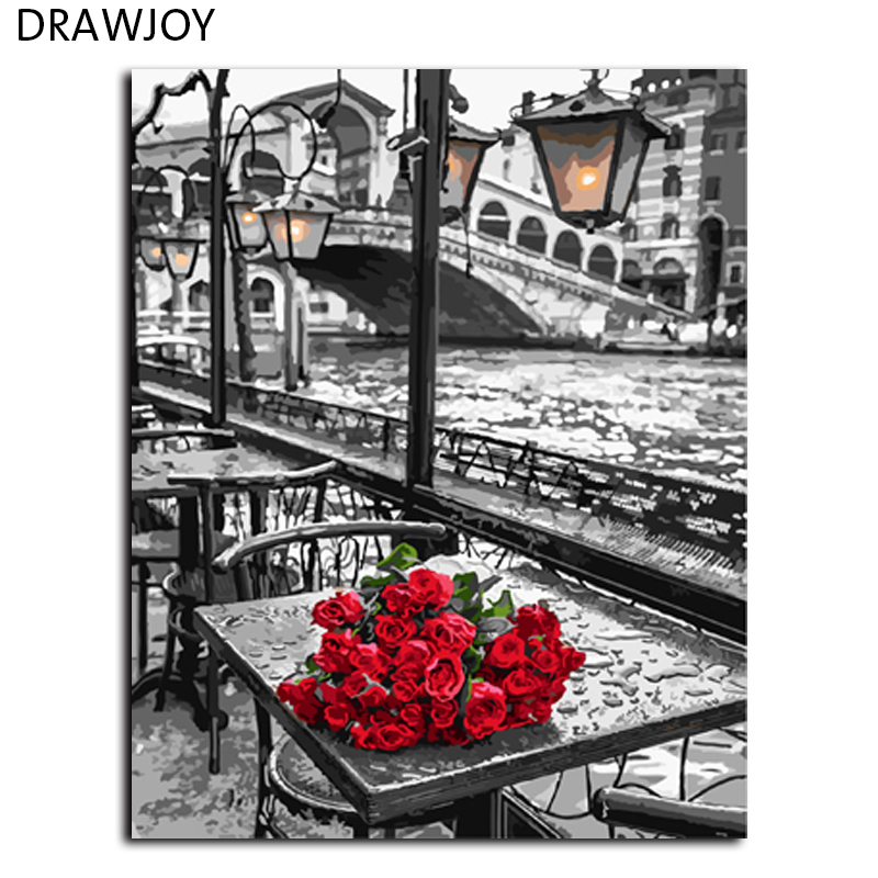DRAWJOY Rose Frameless Painting By Numbers DIY Digital Canvas Oil Painting Home Decor For Living Room Wall Art GX9754 40*50cm