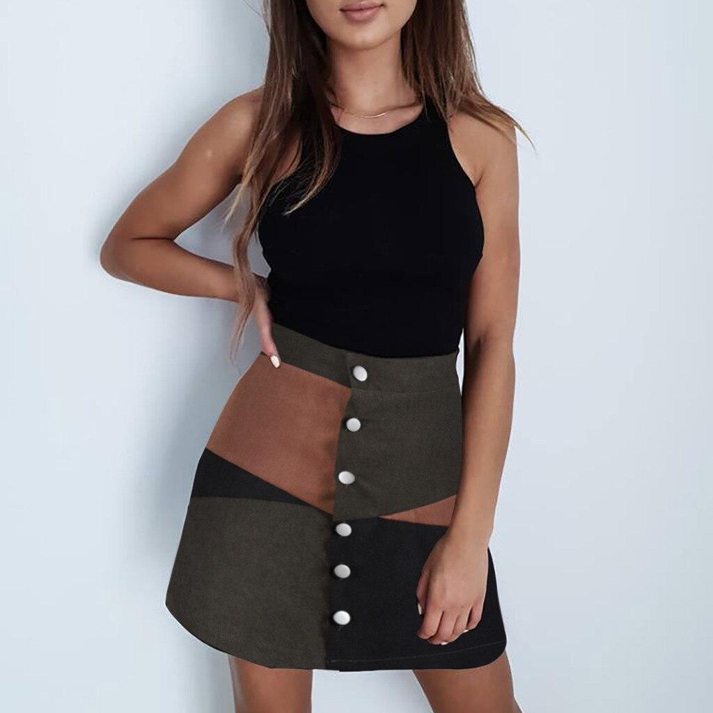 2019 new fashion women ladies casual botton a-line skirt patchwork color block short mini skirt hot sale