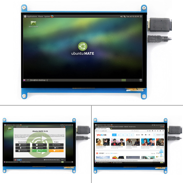Image 2 - New 7 inch 1024x600 USB HDMI LCD Display Monitor Capacitive Touch Screen Holder Case For Raspberry Pi 3 B+ 3B Plus-in Demo Board Accessories from Computer & Office