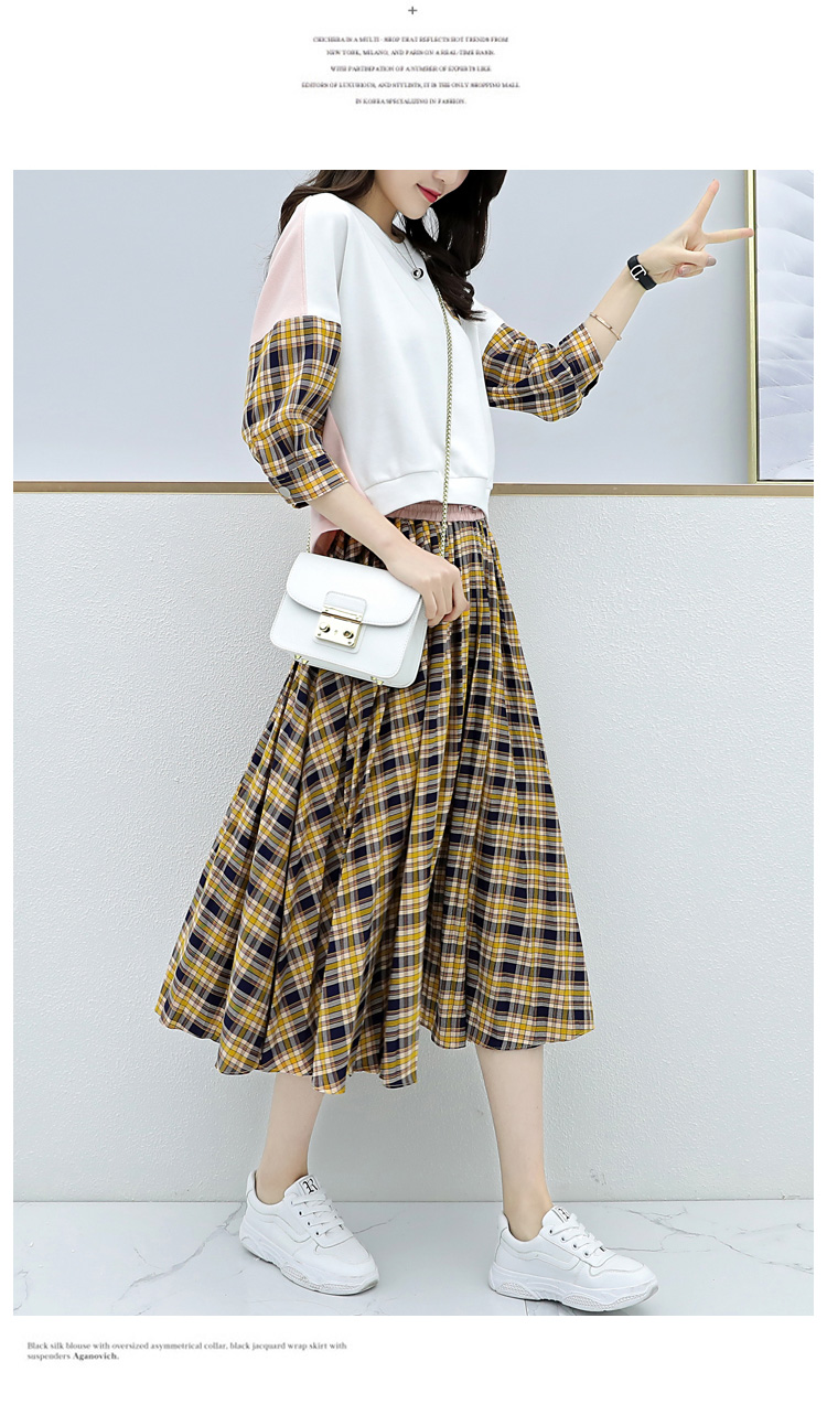 Spring Plaid Two Piece Sets Women Sweatshirt Tops And Pleated Skirt Sets Suits Casual Korean Female Women's Sets Costumes 2019 38