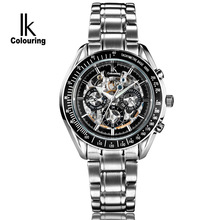 Men's Watches Business Stainless steel skeleton Six-pin black Automatic mechanical clocks men sports 50m waterproof IKcolouring