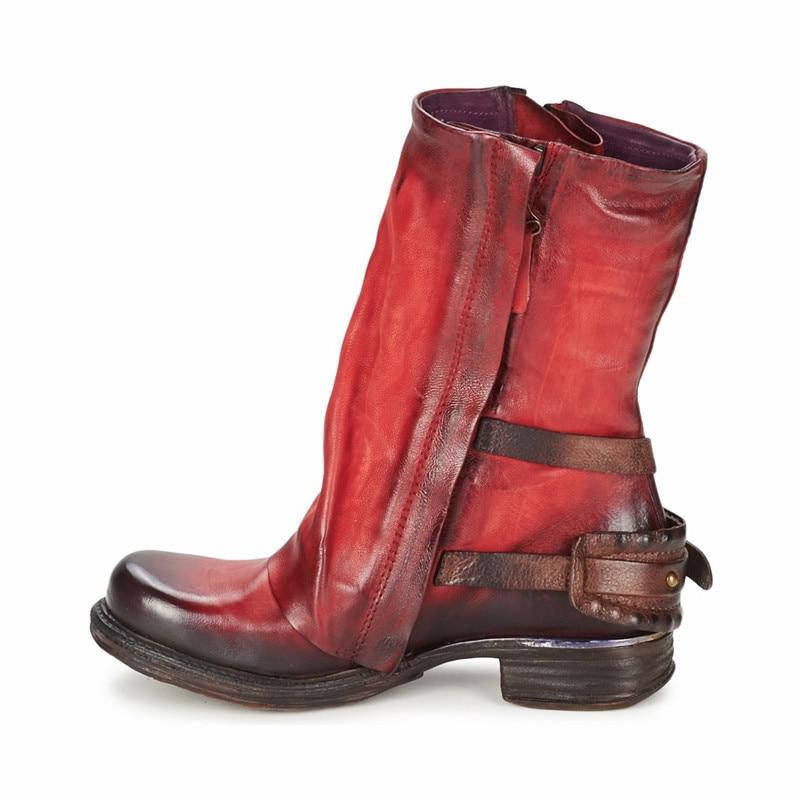 Prova Perfetto Fashion Red Women Mid-calf Boots Soft Genuine Leather Double Zipper Flat Botas Autumn Winter Platform Rubber Boot