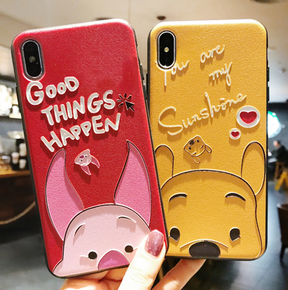 3D Emboss Cartoon Bear Piglet Phone Case For iphone X 8 7 6 6S Plus Soft Silicone Cover For iphone 5 5S SE Couple Relief Coque winnie the pooh iphone case