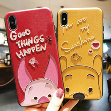 3D Emboss Cartoon Bear Piglet Phone Case For iphone X 8 7 6