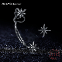ANFASNI Fashion 925 Sterling Silver Stars Asymmetrical Earring Ear Clip With AAA CZ Stone For Women