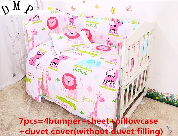 discount 6 7pcs cute baby cot set 100 cotton crib set baby bedding set 120 60 120 70cm in. Black Bedroom Furniture Sets. Home Design Ideas