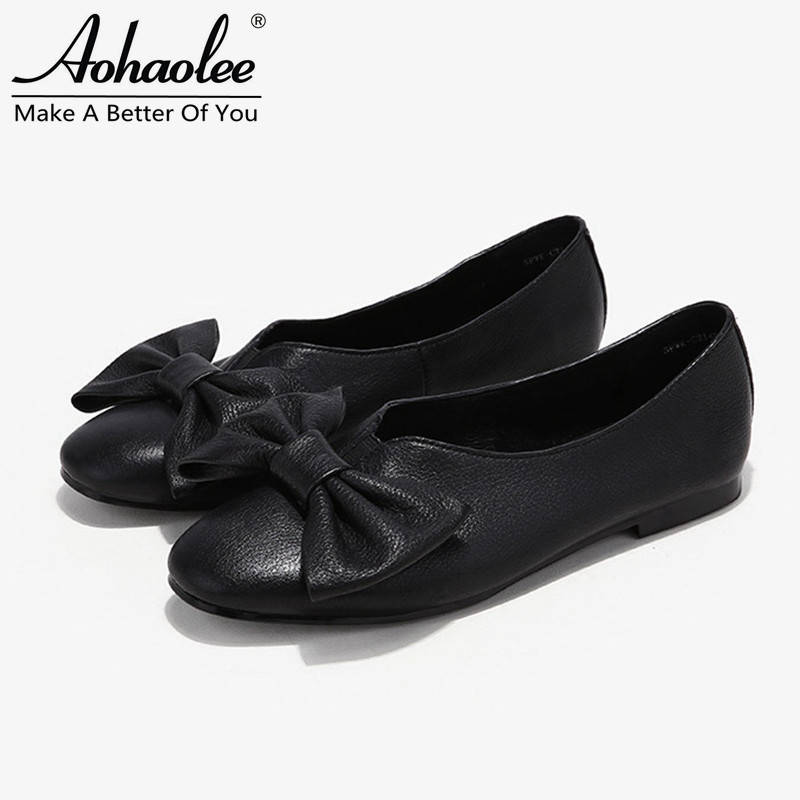 Aohaolee Round Toe Butterfly Women Fashion Shoes Leather Ballet Flats Slip-on Plus Size Comfortable Genuine Leather Loafer Shoes beautoday genuine leather crystal loafer shoes women round toe slip on casual shoes sheepskin leather flats 27038