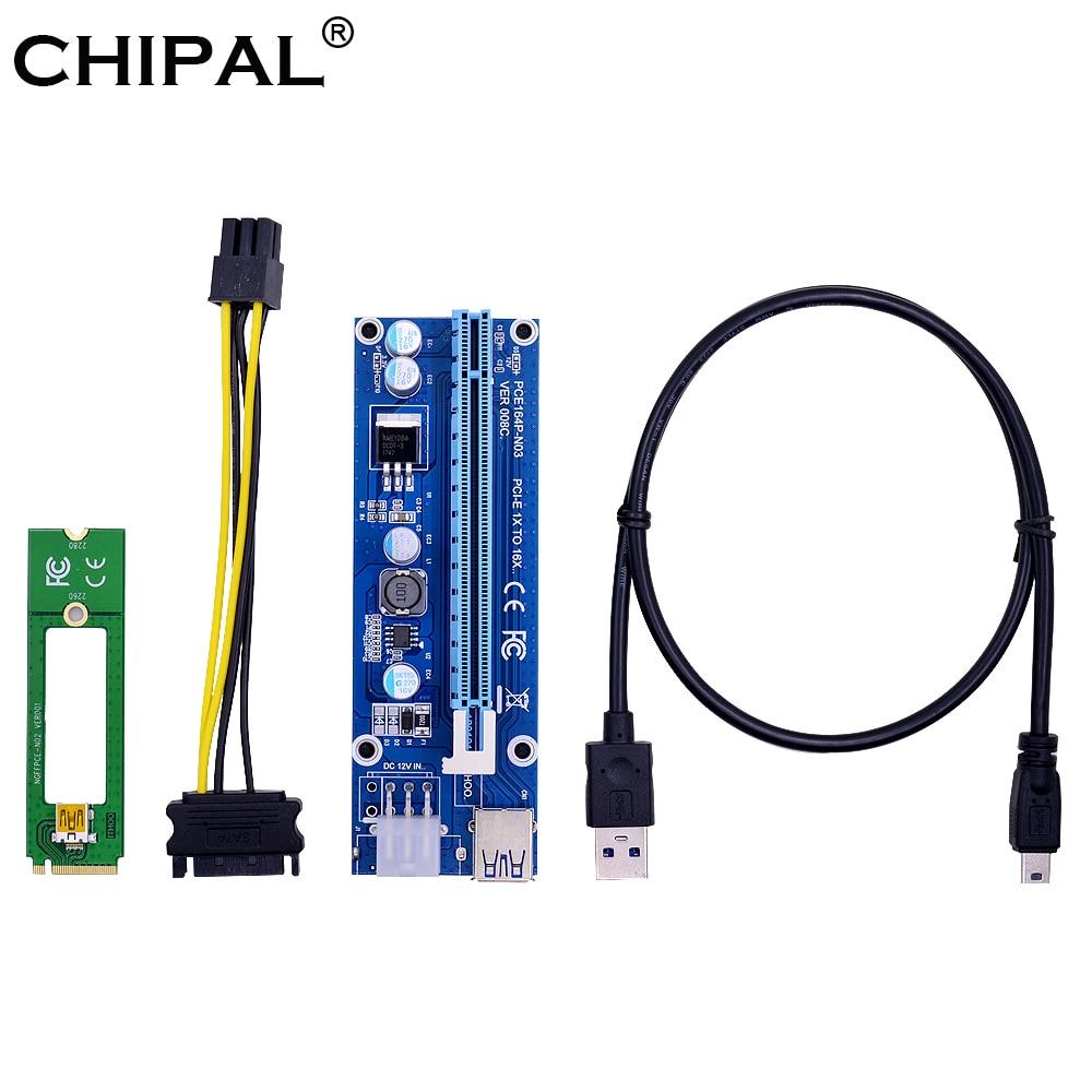 CHIPAL NGFF M.2 M ключ к USB 3,0 PCI-E Райзер карта M2 к USB3.0 PCIE 16X 1X удлинитель с 6Pin питанием для майнера BTC LTC ETH