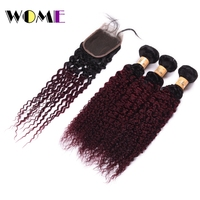 Wome Ombre Hair Two Tone Color Brazilian Kinky Curly Hair Bundles With Closure T1B/99J Human Hair Weaving Curl Hair Extensions