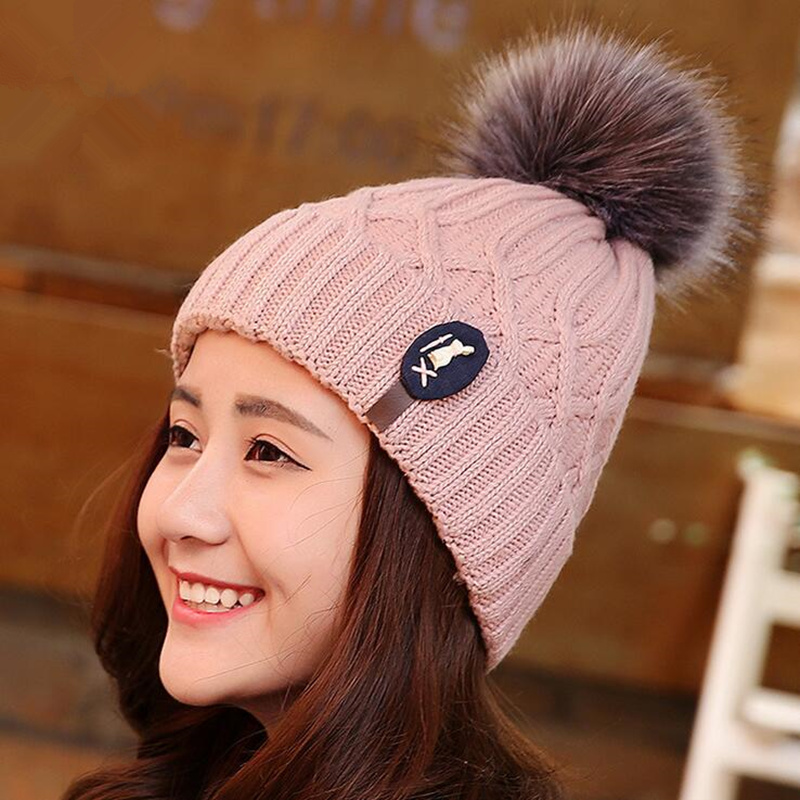 Women Knitted Wool Real Natural Raccoon Fur Pompon Hat Female Winter Braid Cap Headgear For Women Skullies Beanies girl Warm hat 18cm natural raccoon fur pompon hat thick womens winter hat caps female skullies knitted beanies new thick female cap
