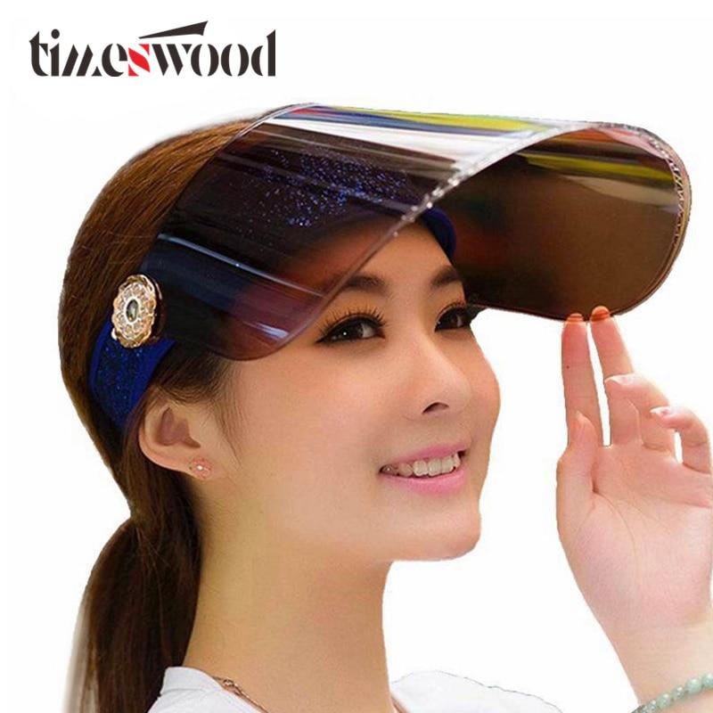Summer Holiday Neon Sun Visors Sunvisor Party Hat Clear Plastic Cap Motor Peak Caps Anti-UV Sun Protection Bicycle Hats