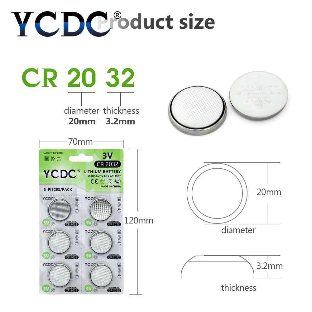 YCDC 6 sztuk 3V CR 2032 litowy przycisk jednostki baterii BR2032 DL2032 ECR2032 CR2032 5004LC KCR2032 ogniwo monety na baterie do zegarków zabawki