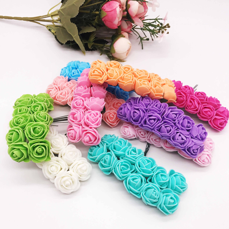 12 pièces/lot fleur artificielle Mini mousse Rose pour mariage décoration de la maison bricolage artisanat couronne de mariée cadeau Scrapbooking fausse fleur