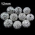 100pcs 12mm Clear White Crystal Rhinestone Disco Ball Pave Beads Round Ball Bead for Shamballa Jewelry (Free shipping+gift)