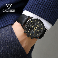 цены CADISEN New Men Watches Top Brand Luxury Men's Watch Moon Phase Waterproof Leather Quartz Watch Automatic Date Reloj Hombre 2019