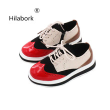 Hilabork 2018 spring and autumn new children s shoes British girls leather  casual shoes in large children 7f4fc9c996b9