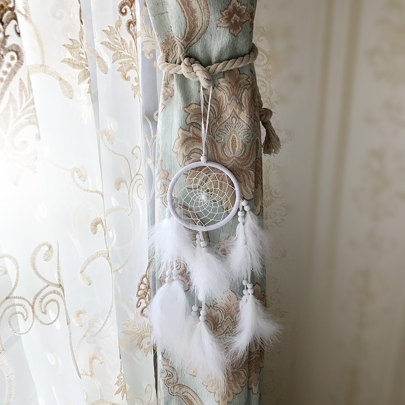one pair tieback Indian curtain accessories decorative feather Dreamcatcher Hanging ornament buckle bandage strap tie tape M598