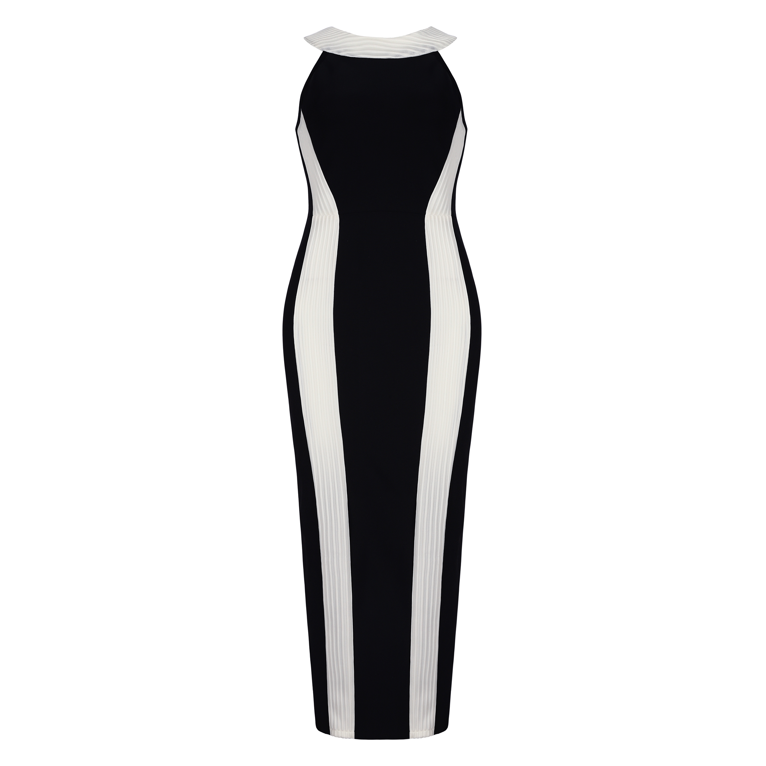 Party Dress 2018 Newest Design Fashion Straight Sleeveless Unique Runway Striped Black & White Evening Sexy Maxi Halter Dresses