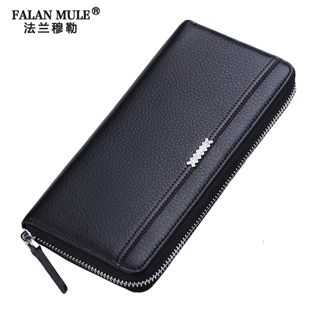 FALAN MULE Men Fashion Genuine Cowhide Leather Wallet Men Casual Male Clutch High Capacity Long Men Wallet Hand Bag Clutch Purse