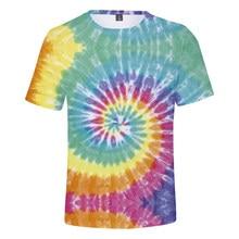 Tie Dye 3d printed t shirt short sleeve tops SF