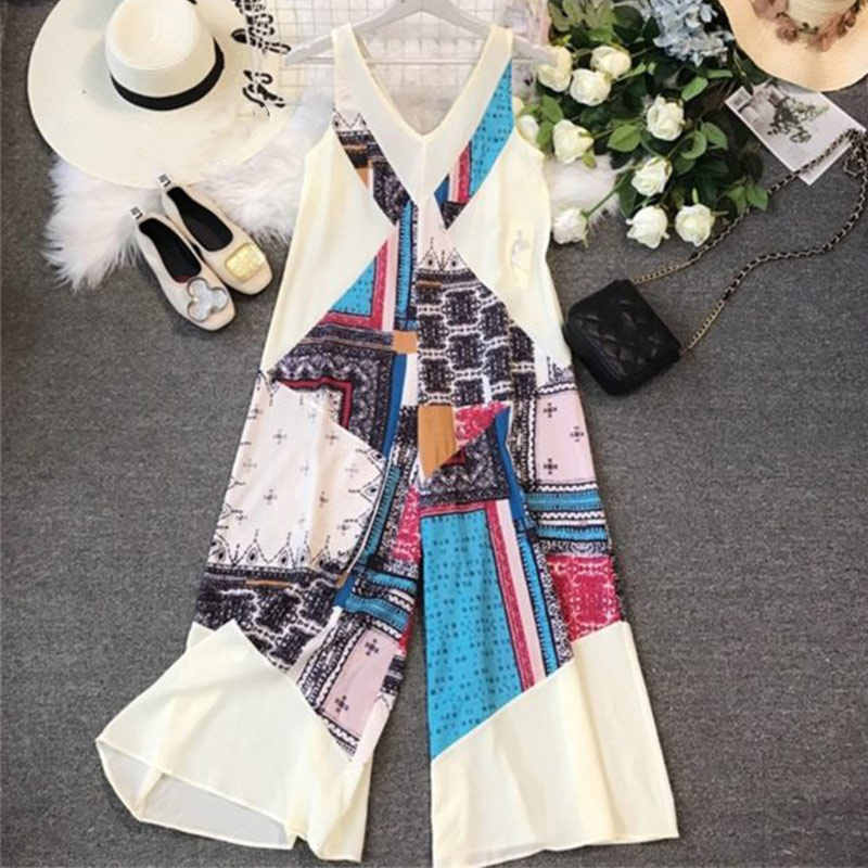 Print Wijde Pijpen Strand Vrouwen Jumpsuits Mouwloze V-hals Bohemien Jumpsuit Rits Zomer 2020 Losse Casual Holiday Rompertjes Dame