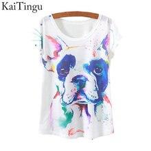 KaiTingu 2015 New Fashion Vintage Spring Summer T Shirt Women Tops Print T-shirt Animal Dog Printed White Woman Clothes