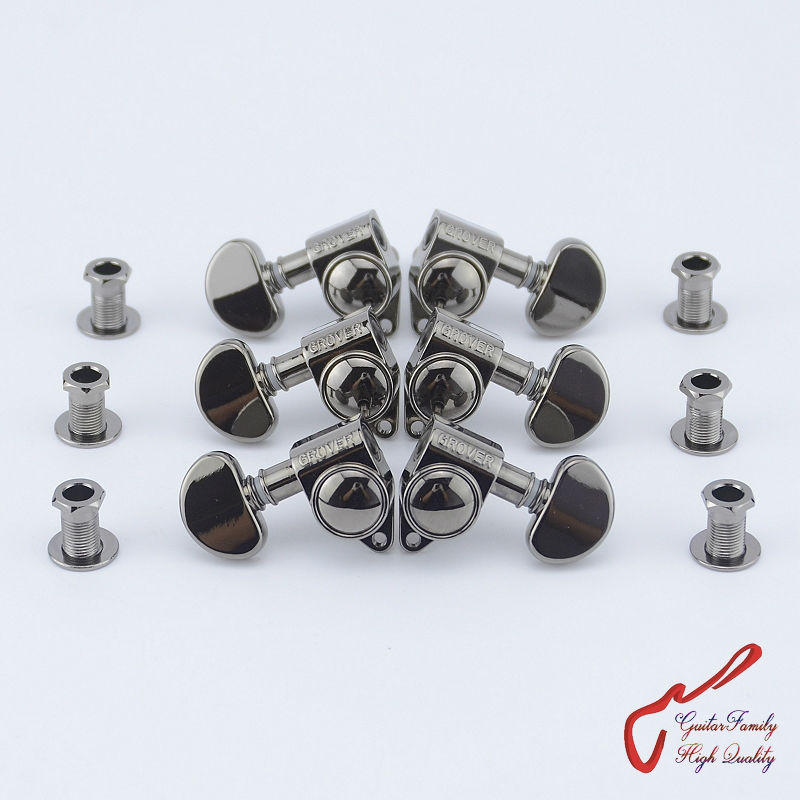 1Set 3R-3L Genuine Grover Guitar Machine Heads Tuners 1:18 Black Nickel ( without original package )