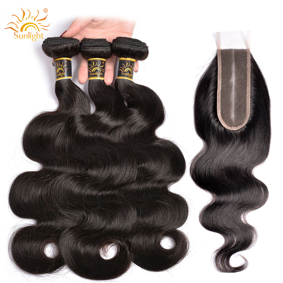 Brazilian Body Wave Bundles With 2 6 Closure Middle Part Remy Hair Sunlight 2 6 Closure