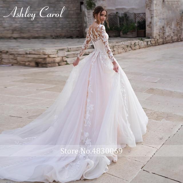 Ashley Carol Long Sleeve Princess Wedding Dress 2021 Tulle Bride Dresses Chapel Train Appliques Bridal Gowns Vestido De Noiva 2