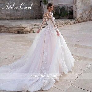 Image 2 - Ashley Caro Tay Dài Váy Cưới Công Chúa 2020 Voan Cô Dâu Đầm Nhà Nguyện Đoàn Tàu Appliques Cô Dâu Đồ Bầu Đầm Vestido De Noiva