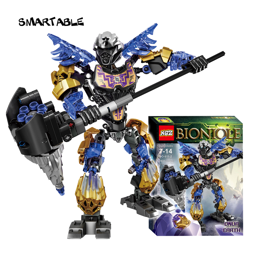 Smartable BIONICLE 143pcs Light Onua Earth figures 611-2 Building Block Toys For Children Compatible legoing 71309 BIONICLE Gift цена