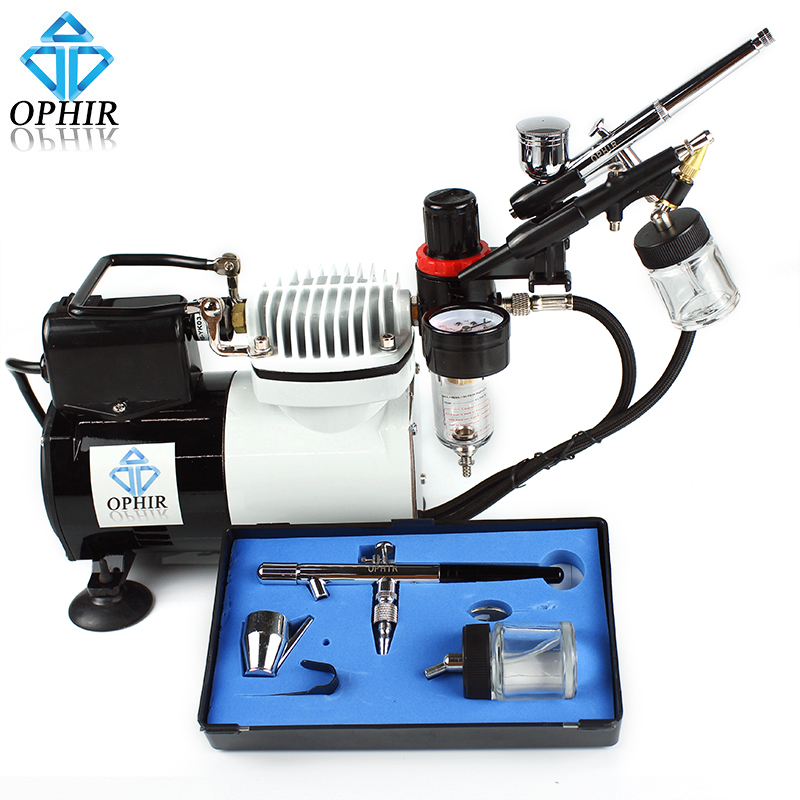 OPHIR 3x Airbrush Kit with Air Compressor for Makeup Tattoo Model Single/Dual Action Spray Air Brush Gun Set _AC114+004A+071+072 ophir pro 2x dual action airbrush kit with air tank compressor for tanning body paint temporary tattoo spray gun  ac090 004a 074