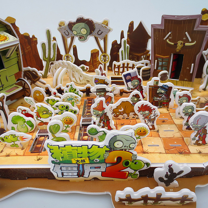 The New Large Plants Vs Zombies 2 3D Puzzle Paper 3D Pirate Ship Kung Fu World Educational Toys Handmade For Child Toys