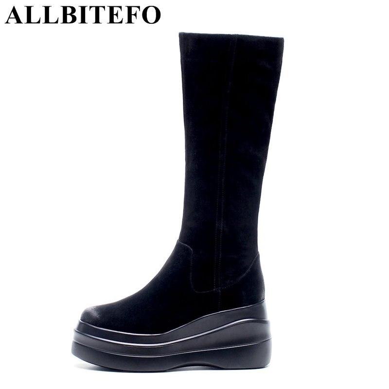 ALLBITEFO gorąca sprzedaż prawdziwej skóry + pu kliny obcas damskie buty na platformie zimowe na wysokim obcasie buty śniegowe dziewczyny buty bota de neve w Kozaki do kolan od Buty na  Grupa 1