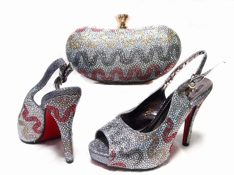 2017 Silver Shoes and Bag Set with Rhinestone Nigerian high quality italian shoes and purse ste for wedding party doershow african shoes and bags fashion italian matching shoes and bag set nigerian high heels for wedding dress puw1 19