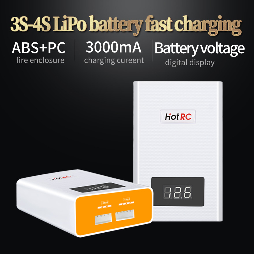 1 Hotrc A400 Digital <font><b>3S</b></font> 4S <font><b>3000mah</b></font> RC <font><b>Lipo</b></font> <font><b>Battery</b></font> Balance Charger with LED Screen Fast Charge Discharger for RC Quadcopter image