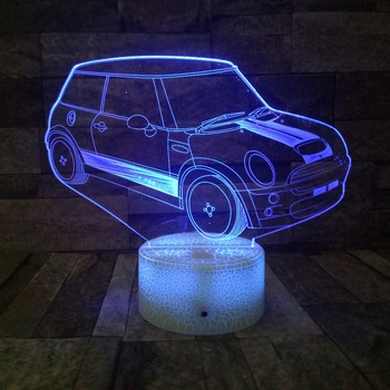 Supper Car 3D Lamp 7 Colors Changing 3d Illusion Novelty Led Night Lights Children Gift Table Lamp Home Coffee Shop Bar Decor image