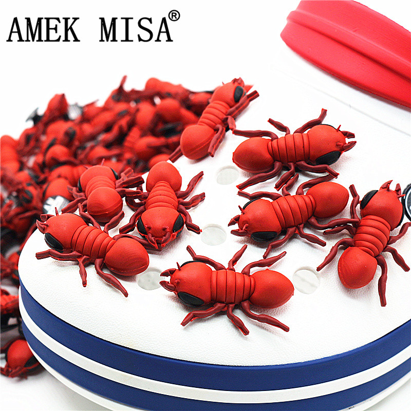 3D Fire Ant PVC Shoe Decorations 1pcs High Imitation Lifelike Shoe Buckles Accessories Charm Accessory Fit Croc JIBZ Kids Antman