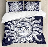 Sun and Moon Duvet Cover Set Love and Romance in Sky Eclipse at Midnight Themed Folk Elements Vintage 4 Piece Bedding Set
